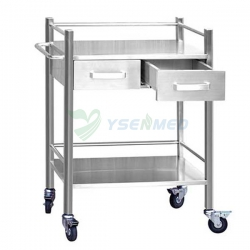 Two Drawer Stainless Steel Mobile Dental Cabinet YSDEN-D40